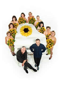 Gary Barlow, Tim Firth and the Calendar Girls credit John Swannell